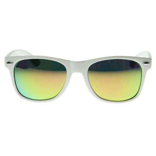 Hipster Fashion Revo Color Mirror Lens Wayfarers Style Sunglasses White