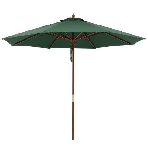 ウッドパラソル2.7m グリーン[4~6人がけテーブルセット用の大型ガーデンパラソル] B06XKZ28RG