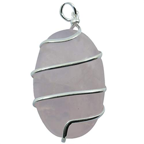 Reiki Crystal Products Rose Quartz Natural Stone Pendant Wire Wrapped Oval Pendant Semi Precious Stone Pendants for Unisex ()