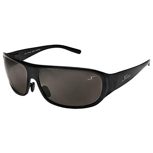 Xezo UV 400 Curve 8 Solid Titanium Polarized Sunglasses, Metallic Black, 1.7 (Metallic Wrap Around Sunglasses)