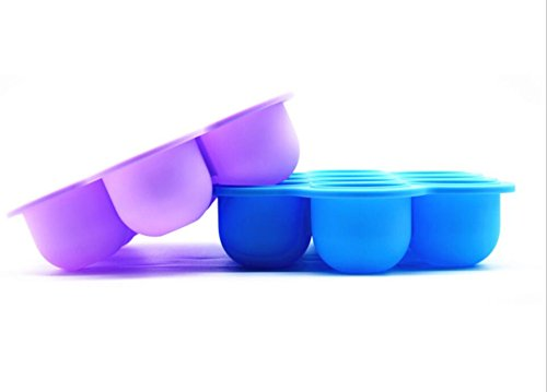 LUXEHOME 2-Pack BPA Free Silicone Baby Food Storage Freezer Containers with Clip-on Lid, FDA Food Storage