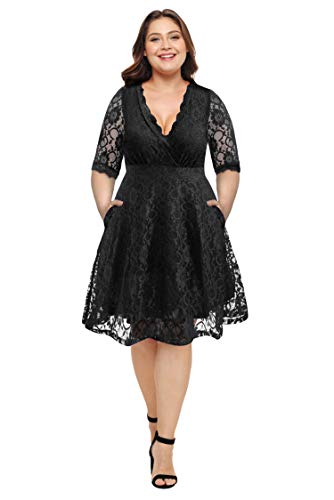 Women Plus Size Lace V Neck Short Formal Wedding Party Cocktail Dress with Pockets Black, 18W-20W