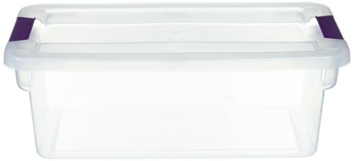 STERILITE 17511712 6 Quart Clearview Latch Storage Container With Plum Handles -