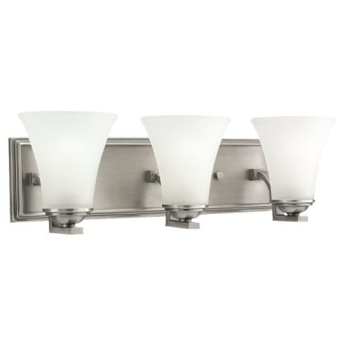 Sea Gull Lighting 44376-965 Somerton Three-Light Bath or Wall Light Fixture with Satin Etched Glass Shades, Antique Brushed Nickel (Backplates Antique Brushed Satin)