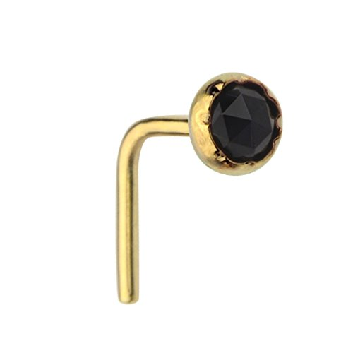(Sampson Nose Ring - Nose Stud - 14K Yellow Gold Filled 20 Gauge Set With a 3mm Black Onyx)