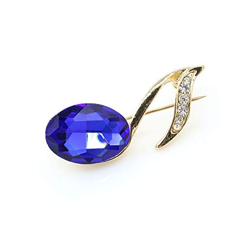 Shiny Gemstone Musical Note Brooch,Atmospheric Crystal Zircon Music Symbol Brooch Pin for Christmas Gifts (Blue)