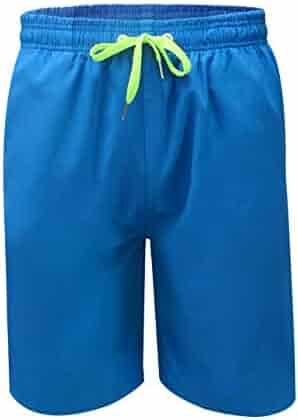 f9cb5d6b53 QRANSS Men's Quick Dry Swimming Trunks Bathing Suit Shorts Striped Mesh  Liner
