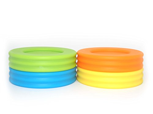 Wide Mouth Mason Jar Lids - Compatible with Wide Mouthed Size Ball Jars - Reusable and Leak Proof Plastic Lids are BPA Free - Includes Pen for Marking - Green, Orange, Yellow & Blue - Pack of 8