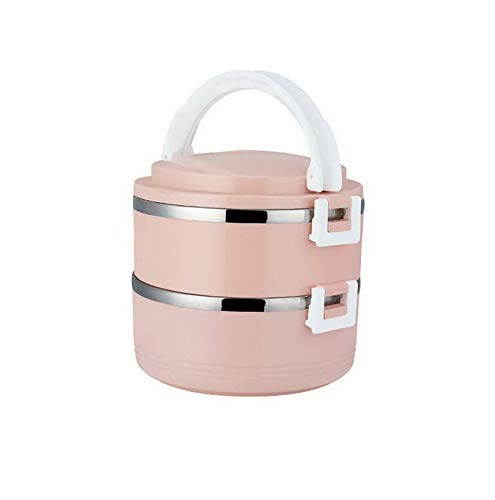 Mikash Round Stainless Steel Thermal Insulated Lunch Box Bento Food Container Storage | Model FDCNTNR - 74 | Pink - 2 Layer