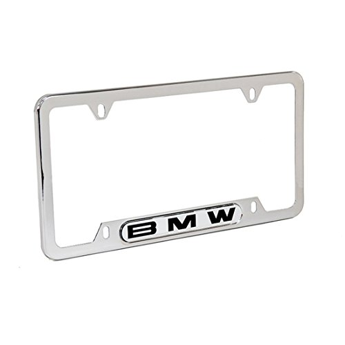 BMW License Plate Frame w Logo Polished Stainless Steel