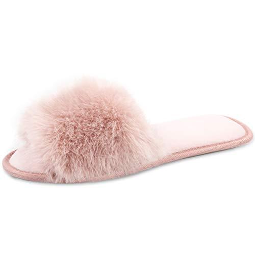 - Caramella Bubble Womens Open Toe Fluffy Fur Slippers| Summer House Slippers for Women |Faux Slip On Slippers Memory Form Slide Pink