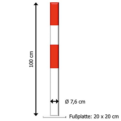 TMS PRO SHOP Sperrpfosten FLEX 2 rot/weiß selbstaufrichtend, zum zum Aufdübeln, 30° aus Stahl