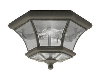 Livex Lighting 7052-07 Monterey 2 Light Outdoor/Indoor Bronze Finish Solid Brass Flush Mount  with Clear Beveled Glass - 07 Monterey Outdoor Light