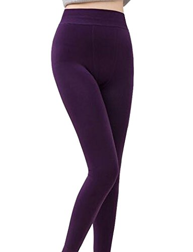 Romastory Winter Warm Women Velvet Elastic Leggings Pants (Purple) (Purple Pants Velvet)