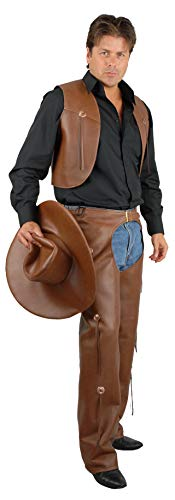 Charades Men's Faux-Leather Chaps and Vest Adult Costume, Brown, Large ()