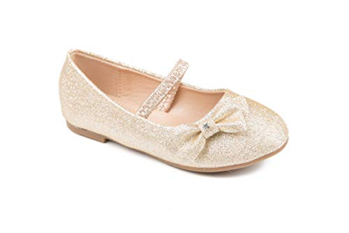 Pipiolo Mary Jane Ballerina Flats - Shoes for Girls (Glitter Gold, 9 M US Toddler)