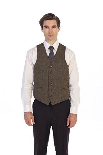 Gioberti Men's 6 Button Slim Fit Formal Herringbone Tweed Vest, Barleycorn Brown, 5X - Formal Shirt Herringbone