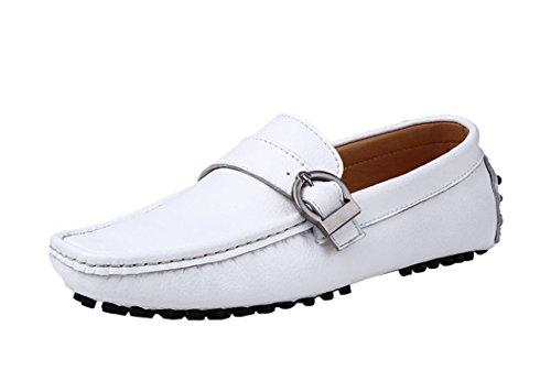 Icegrey Hommes Mocassins Cuir avec Boucle Plates Chaussures en Cuir Pour Hommes Blanc 44