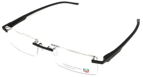 Tag Heuer Eyeglasses Frame Unisex Rimless Black White Automatic TH0841 011