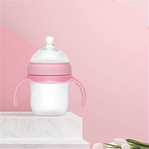 Babyflasche Baby Silikonflasche Nachahmung Muttermilch Weitwinkelflasche 150ML@Pink
