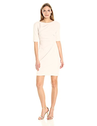 Betsey Johnson Womens Almond (Betsey Johnson Women's 3/4 Sleeve Scuba Crepe Sheath Dress, Almond, 4)