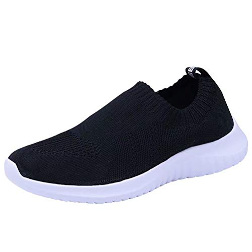 konhill Women's Walking Tennis Shoes - Lightweight Athletic Casual Gym Slip on Sneakers 8.5 US Black,39 (Best Looking Casual Sneakers)
