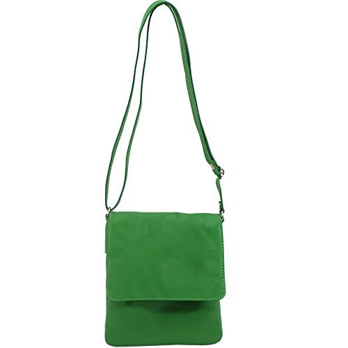 haute pour DIVA 'S NEUF Vrai Cuir pour femmes à rabat VERA PELLE Décontracté Bandoulière Sac à main bandoulière - Blanc, Small Vert