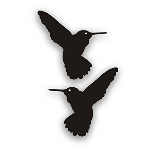 Solar Graphics USA Hummingbird Decal Pair for Flower Garden Or Visibility On Glass Patio Sliding Door Each 4x4 Inch Black