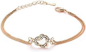 Ladies Heart shaped diamond Bracelet Rose Gold chain length 165mm Extensible