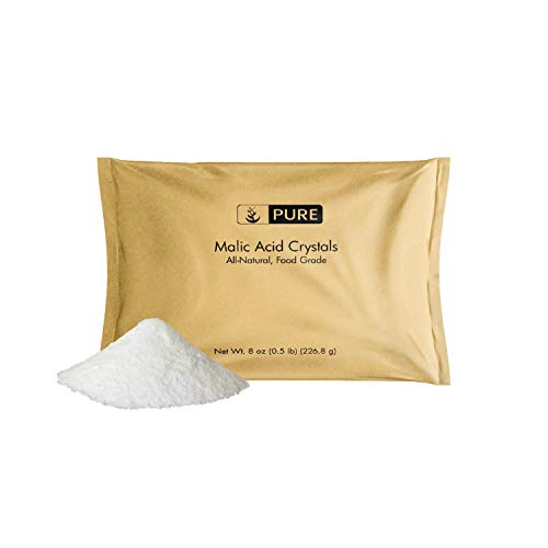 Malic Acid Powder (8 oz, 600 mg per Serving) by Pure Organic Ingredients, Boost Energy Production*, Alpha Hydroxy Acid, Help with Muscle Pain & Soreness*, Rejuvenate Skin*