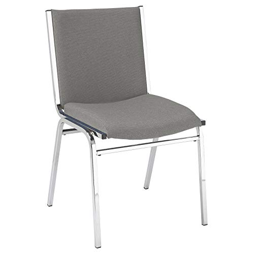 KFI Seating 420 Armless Stacking Chair, Commercial Grade, 2-Inch, Gray Fabric, Made in the USA