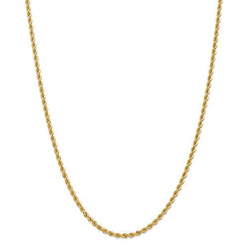 Roy Rose Jewelry 14K Yellow Gold 2.75mm Handmade Regular Rope Chain Necklace ~ Length 16'' inches - 16' Regular Rope Chain