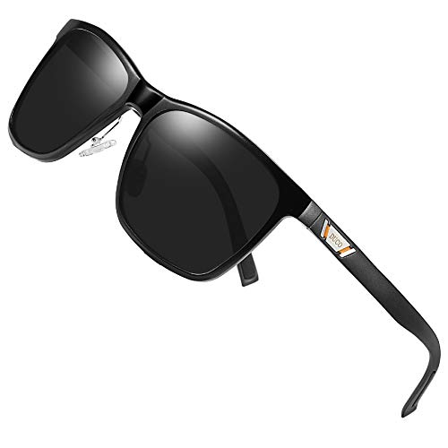 DUCO Unisex Metal Classic Polarized Sunglasses with UV400 Protection for Outdoor Sports 3029H (Black)