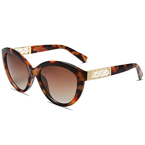 MAREINE Vintage Cat Eye Sunglasses with Polarized Lens for Women AIMEE with Brown Tortoise Frame/Brown Lense