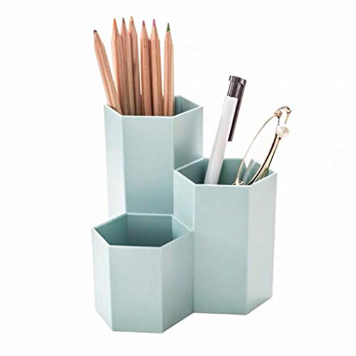 Liu Ling Pillar Creative Design Silicone Pen and Pencil Holder Penholder – Blue Pen Holder Diamond Plastic Pen Holder with 3 Compartments Office/School Desk ()