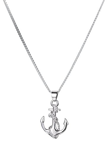 Stainless Steel Anchor & Rope Pendant Necklace With 18