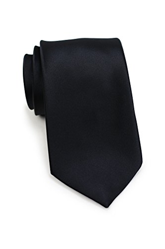 Bows-N-Ties Men's Necktie Solid Color Microfiber Satin Tie 3.25 Inches (Black) ()