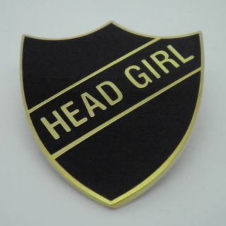 Head Girl Enamel School Shield Badge - Black - Pack of 5