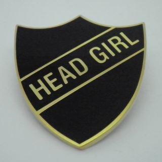 Head Girl Enamel School Shield Badge - Black - Pack of 10