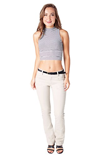 Bebop Women's Bootcut Pant, Beige, Size 9, Stretch Cotton Twill, Removable Belt