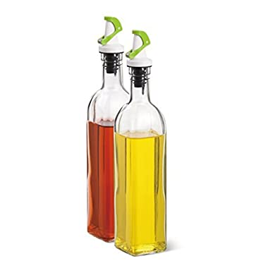 Elemental Kitchen Glass Oil and Vinegar Bottles Cruet Set with Automatic Open Pourers (green)