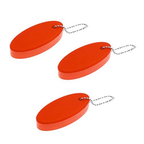 (NATFUR 3Pcs Oval Foam Floating Keychain Key Ring Key Float Water Buoyant Key Holder Pretty Key-Chain for Men for Girls for Gift Elegant Pretty Novelty   Color - Orange)