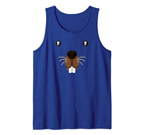 Cute Animal Face Groundhog Day Beaver Kawaii Style Costume  Tank Top ()