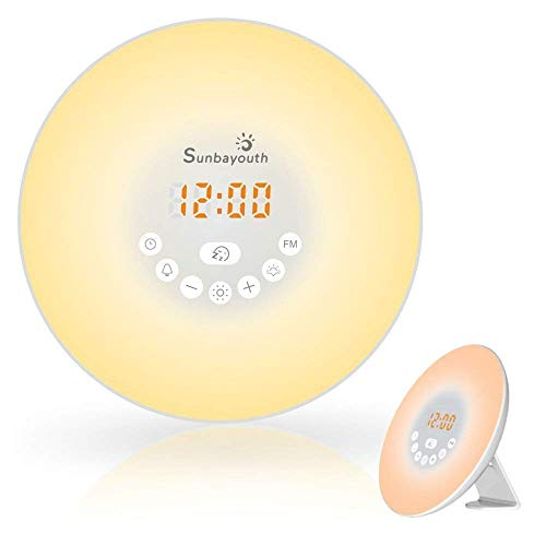 Sunrise Alarm Clock Daylight Alarm Clock with 7 Colors FM Radio Nature Sounds Snooze Function and Touch Control Wake Up Light
