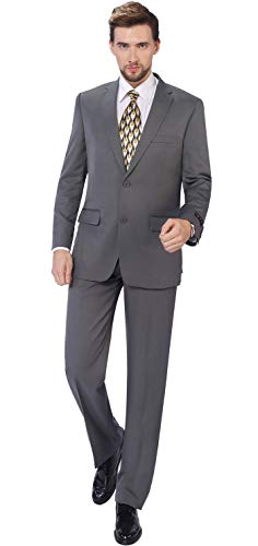 P&L Men's 2-Piece Classic Fit Single Breasted 2 Buttons Blazer & Trousers Suit Grey