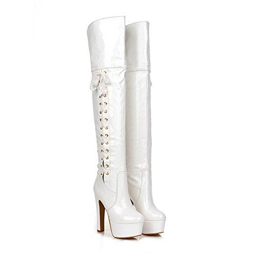 Heels White BalaMasa Leather Patent Chunky Ladies Boots Bandage Platform zn7wIqTxAv