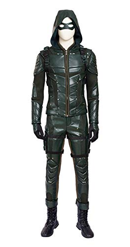 O-O Cosplay Mens PU Leather Battle Suit Halloween Cosplay Costume Full Set (Man-S, Green) ()