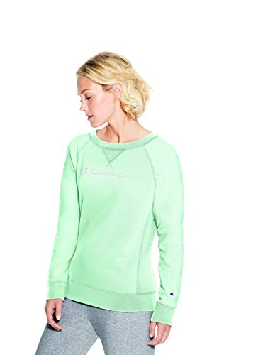 Champion Women's Heritage French Terry Crew, Blue Spearmint XX-Large