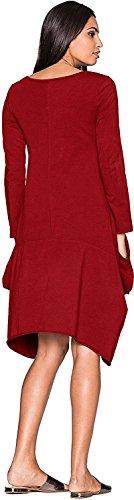 Vestito Camicia Blusa Vino Casual Unita Camicie Corta Irregolare Manica Ufficio Tinta Rosso Minetom Donna Sexy Girocollo Elegante Maglia 5qYxaZE