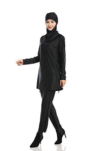 Solido Costumi Donne Bozevon Moda Islamiche Da Musulmano Bagno Modesto Beachwear Pezzi Swimsuit Colore Burkini Nero 3 Hijab t0SSdw